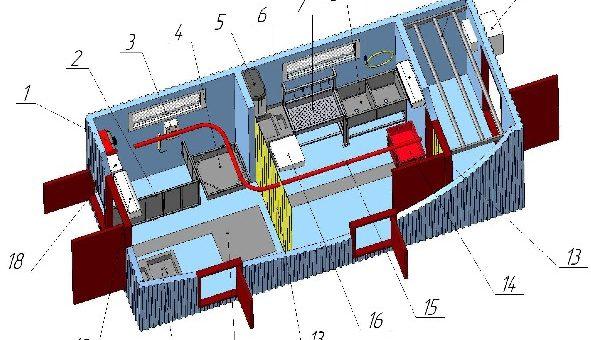 Модульный цех для убоя МРС до 50 голов в смену с холодильной камерой охлаждения до 15 туш МЦУМРС-50